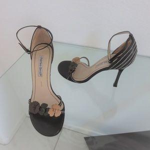 Dark Brown Leather High Heel Ankle Strap Sandals